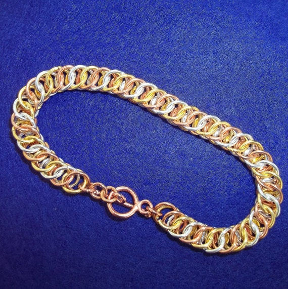 S - 183 Chainmaille bracelet - two toned