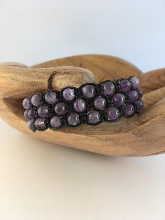 S - 880 Men's bracelet featuring sage amethyst