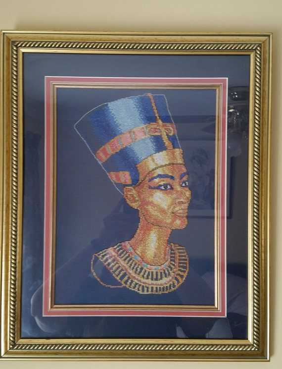 P101.  Queen Nefertiti finished cross stitch.
