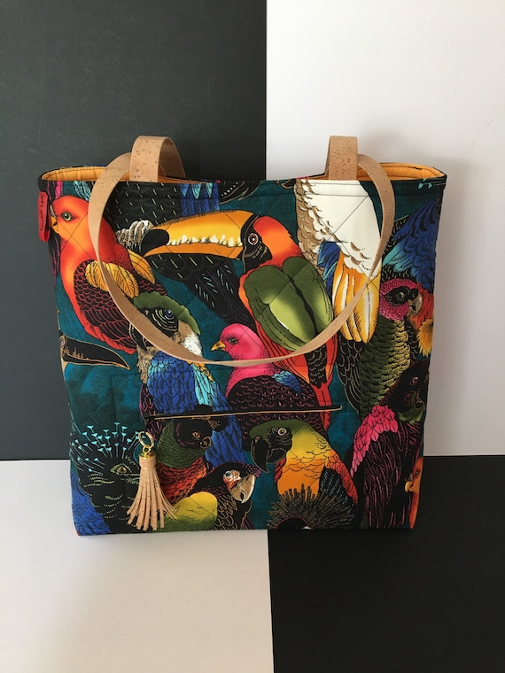 SB019 Large tote bag featuring stunning birds fabric