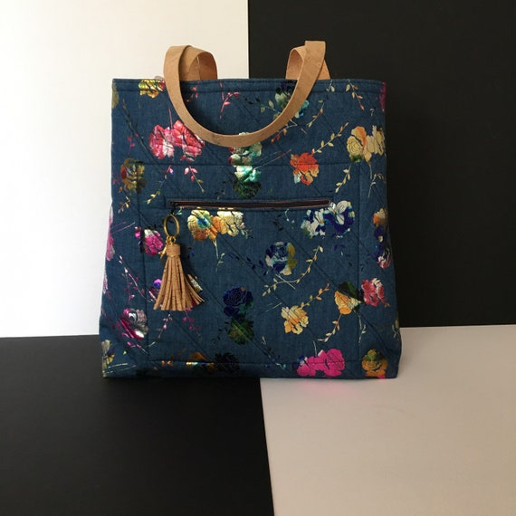 SB0021 Shopper featuring stunning foiled flower print on denim fabric