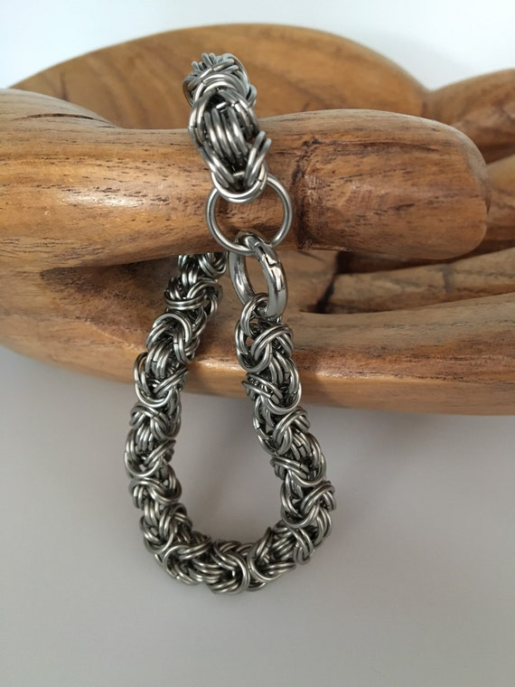 S - 072 Mens bracelet- double ringed Byzantine weave in stainless steel