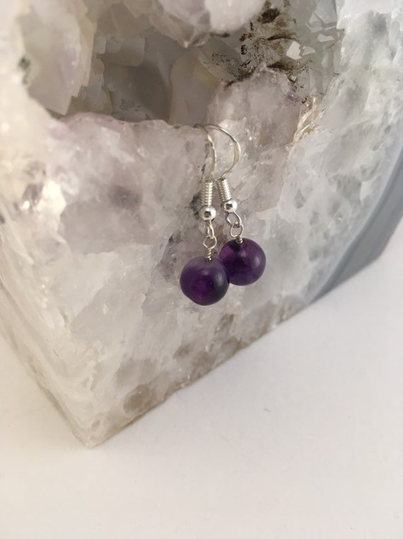 S - 786 Sterling silver, Amethyst earrings