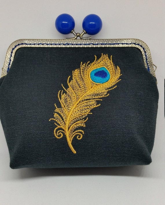 CP682.  Sparkling Peacock feather design purse