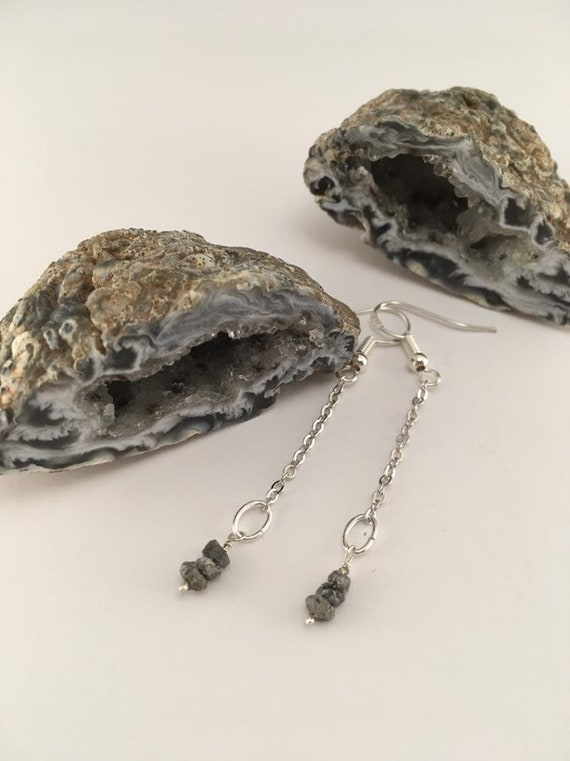 S - 629 Rough diamond earrings