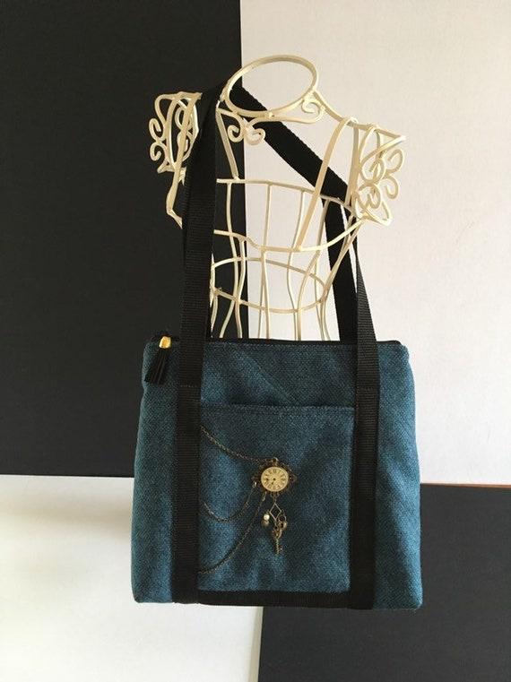 S - 866 Blue shoulder bag, steampunk