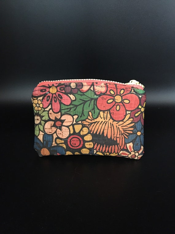 S - 099 Coin/bank card purse in flowers cork design