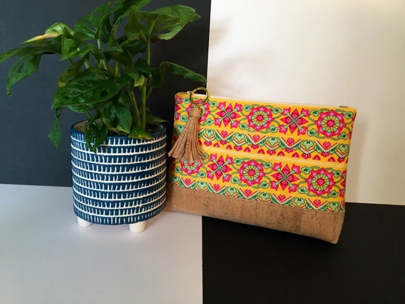 S - 116 Toiletries/cosmetics pouch in stunning yellow, pink and green. Genuine cork and cotton
