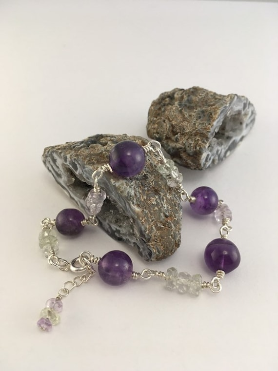 S - 778 Amethyst with 925 sterling silver. Purple, pink and green