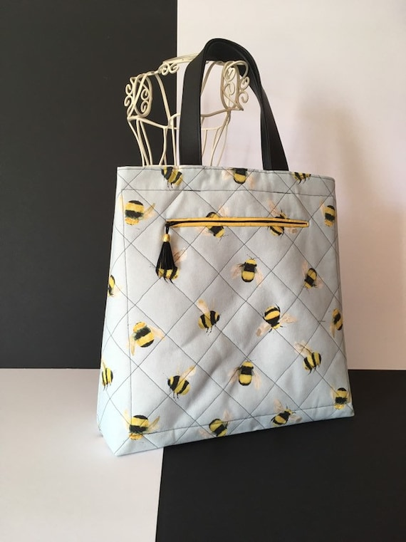 S - 884 Bee patterned , fabric bag.