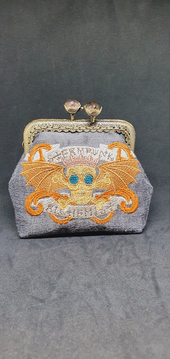 CP736..        The Steampunk alchemy skull banner coin purse