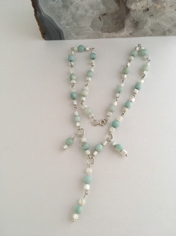 S - 460 Amazonite and mother-of-pearl necklace with 925 sterling silver findings