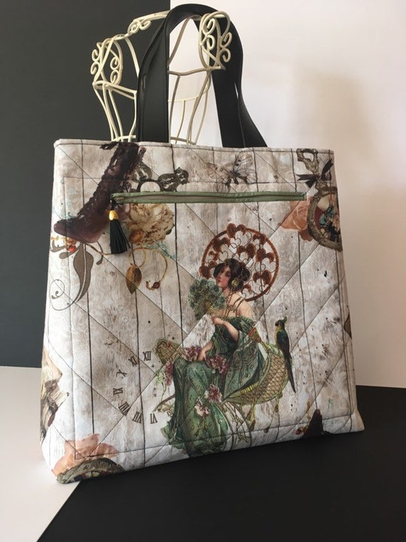 S - 883 Large and roomy bag, featuring stunning, steampunk patterned fabric