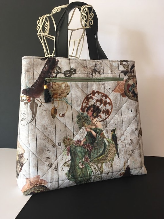 SB009 - Large and roomy bag, featuring stunning, steampunk patterned fabric