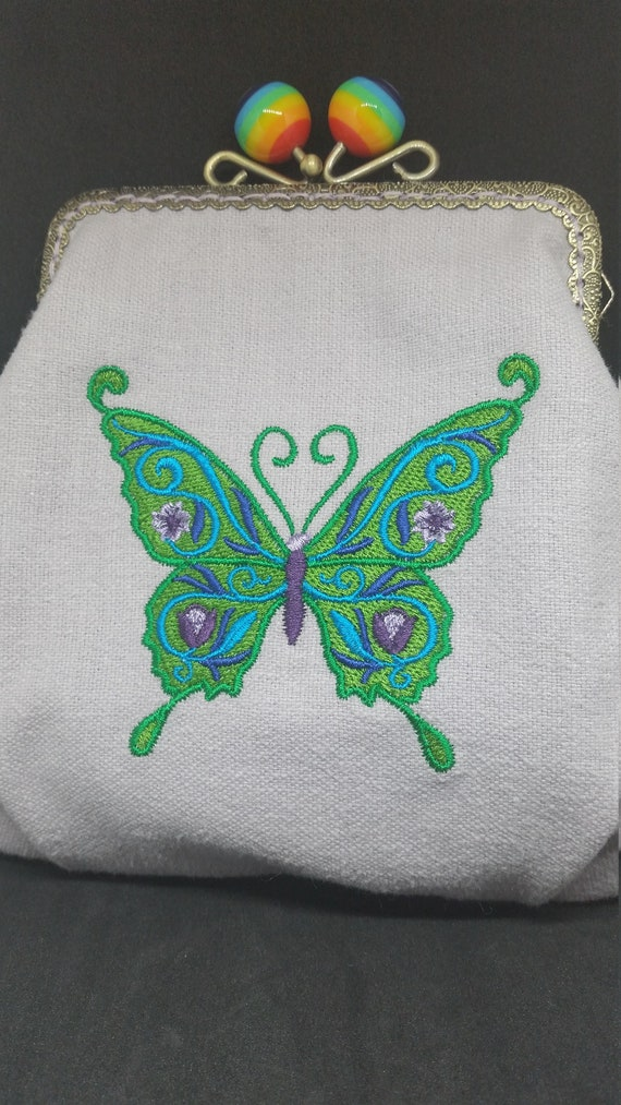 CP648.    Green floral butterfly  design  bag with chain