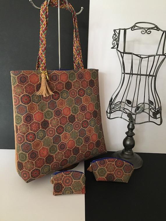 SB0028 Cork tote bag featuring Portuguese tile style