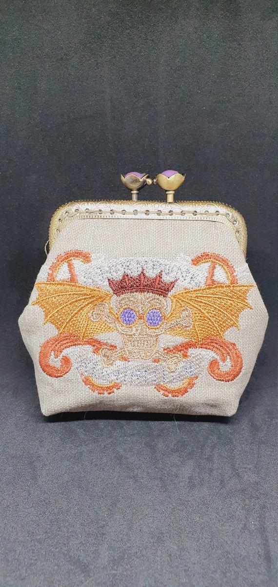 CP737.   The steampunk alchemy skull banner coin  purse