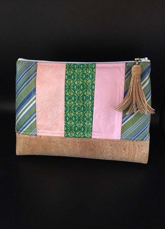 S - 124 Wash bag in stunning colours! Pink peach and greens. Gents ties have been up cycled and the base is genuine Portuguese cork.