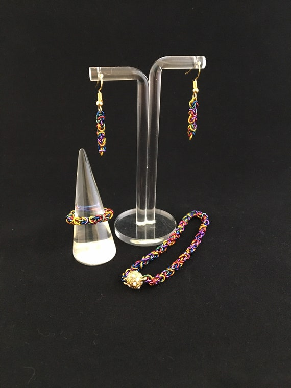 S -012 Set of jewellery. Handcrafted, stunning multi coloured, Byzantine weave