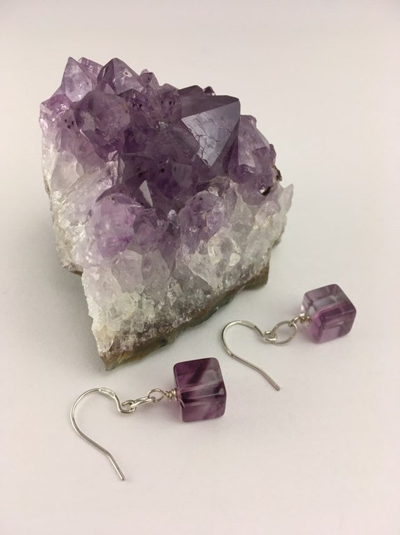 S - 690 Fluorite earrings with 925 sterling silver findings
