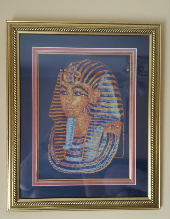 P100.  King Tutankhamun finished cross stitch.