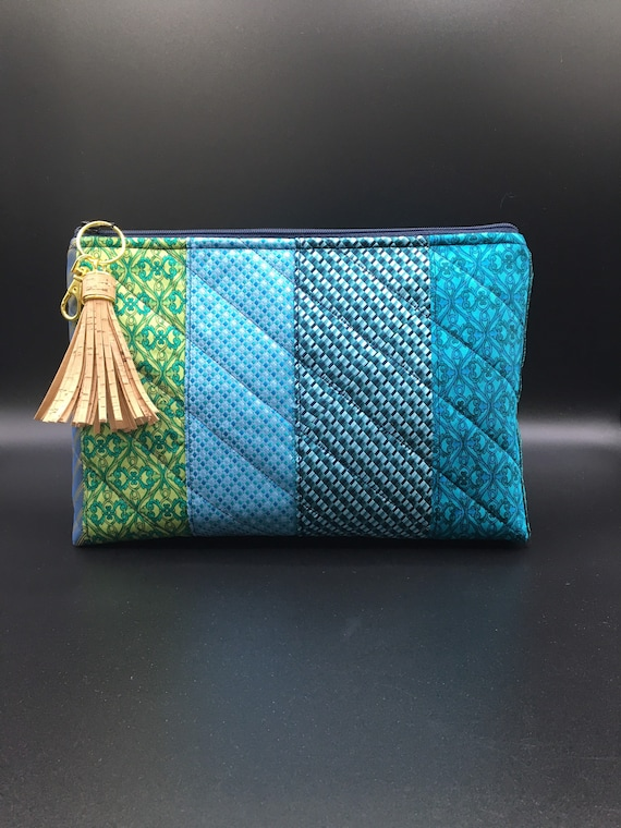 S - 085 Wash bag made with up cycled gents ties! In blue and green