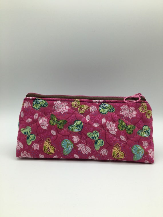 S - 067 Pencil case, makeup bag, soft glasses case in butterflies and flowers design, with pink background