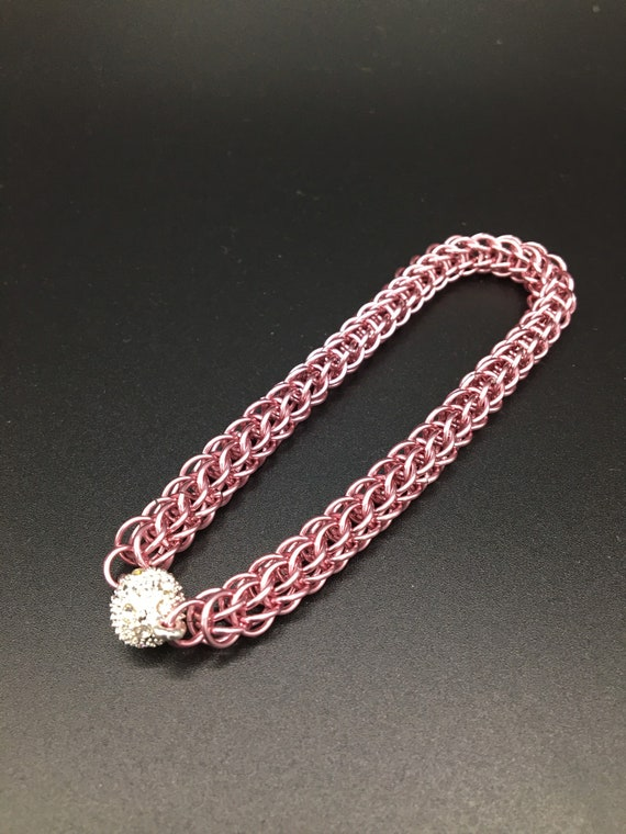 S - 050 Pink bracelet, handcrafted chainmaille, full Persian weave