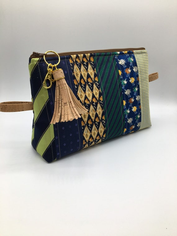 S -075 Upcycled ties toiletries bag/washbag/cosmetics bag in green, blue and yellow tones
