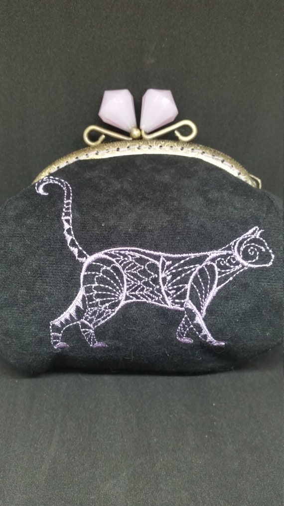 CP622.  Tuxedo cat large coin purse.