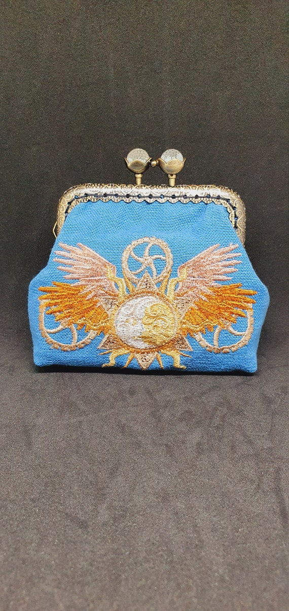 CP735.   The steampunk alchemy sun and moon coin  purse