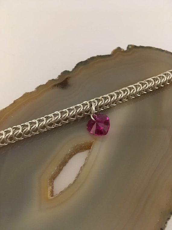 S - 771 Stunning pink heart bracelet