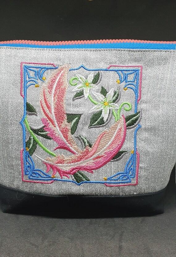 B758.        Art Deco flamingo feathers  cosmetic  bag.