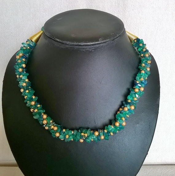 Sale - Onyx and apatite, green and blue kumihimo necklace