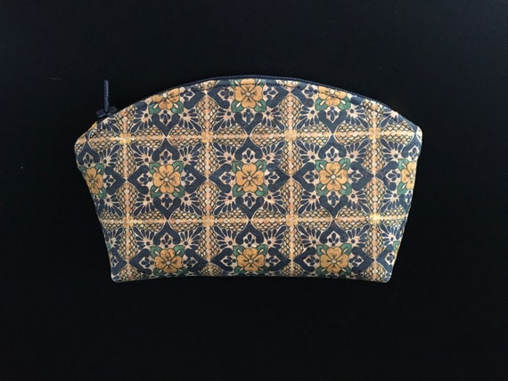 S - 125 Small makeup bag featuring genuine Portuguese tile design cork. Blue green and yellow with mustard yellow cotton lining