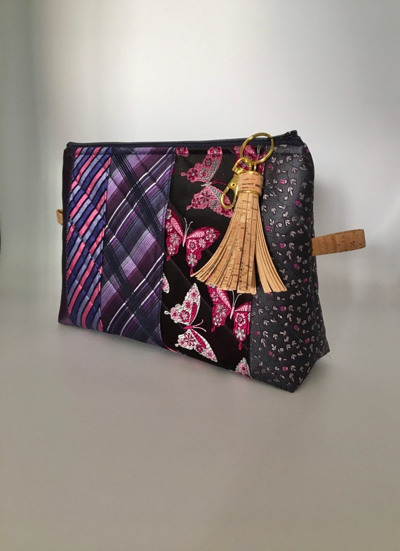 S - 074 Up cycled ties washbag/cosmetics bag in pink and purple