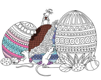 Adult Colouring Page Chocolate Easter Egg Mice