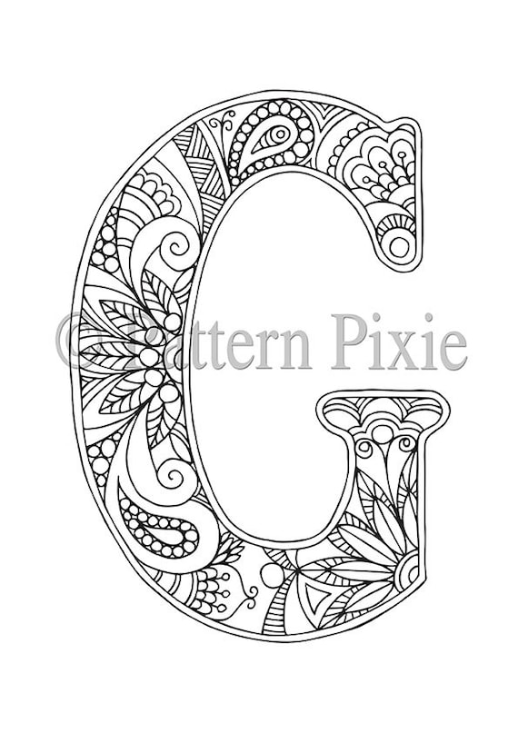 Adult Colouring Page Alphabet Letter G | Etsy