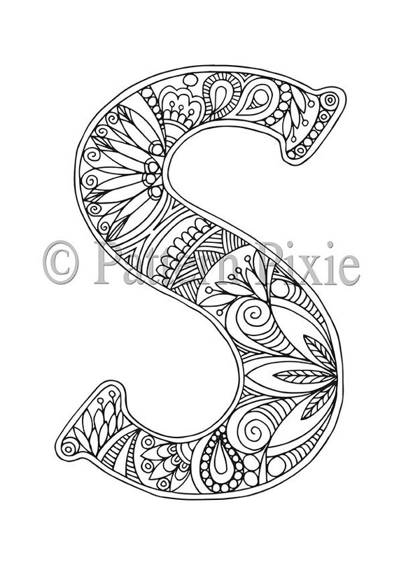 Coloring pages for k ~ Adult Colouring Page Alphabet Letter S   Etsy