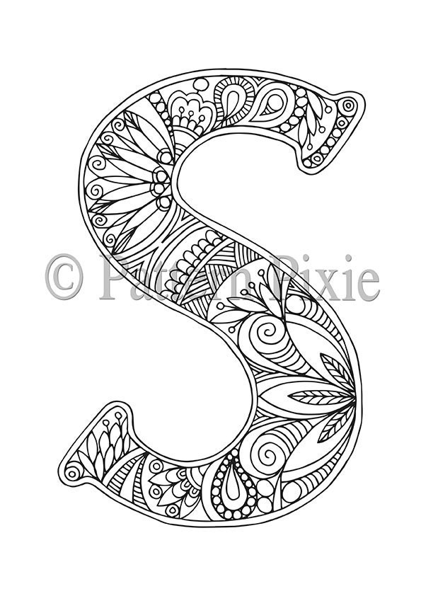 Adult Colouring Page Alphabet Letter S Etsy