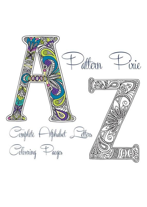 Coloración de adulto página alfabeto paquete A-Z | Etsy