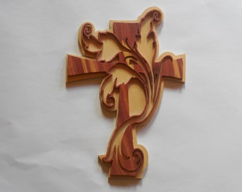 Wall Cross made out of bass wood backer and cedar top