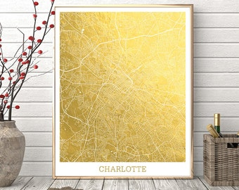 Charlotte Map Print, Charlotte City Street Map, Carlotte NC Map Poster, Charlotte Gold Foil, Urban Map, Modern Wall Art Home Decor Printable