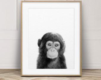 Baby Monkey Print, Jungle Animal Wall Art, Nursery Decor, Cute Baby Chimpanzee Photo, Black And White Animal Print, Kids Room Printable Art