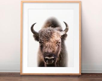 Buffalo Print, Bison Wall Art, American Bison Print, Nursery Animal, Contemporary, Minimalist, Modern Wall Art, Kids Room Decor, Printable