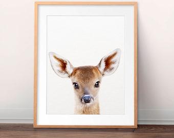 Baby Deer Print, Woodland Nursery Decor, Fawn Wall Art, Modern Nursery Art, Baby Animals Art, Nursery Animal Prints, Kids Room Printable Art