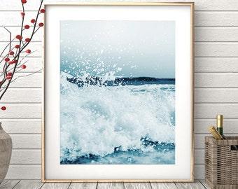 Ocean Wave Print, Beach Wall Art, Ocean Print, Blue Wave Art, Coastal Wall Decor, Teal Blue Waves Print, Modern Wall Art, Printable Art