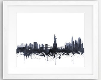 New York City Print, New York Wall Art, New York Skyline Watercolor Grey  Black White, NYC, Modern Wall Art, Home Office Decor, Printable Art