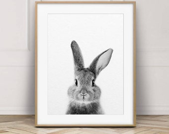 Rabbit Print, Bunny Rabbit Art, Black & White Animal Prints, Rabbit Wall Art, Bunny Print, Woodland Animals, Nursery Decor, Printable Art