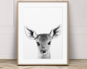 Deer Print, Woodland Nursery Decor, Nursery Animal Wall Art, Black White Baby Animals, Fawn Baby Photo, Nursery Art, Kids Room Printable Art